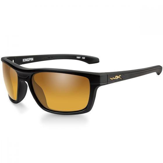 Wiley X WX Kingpin Glasses - Polarized Venice Gold Mirror Lens / Matte Black Frame