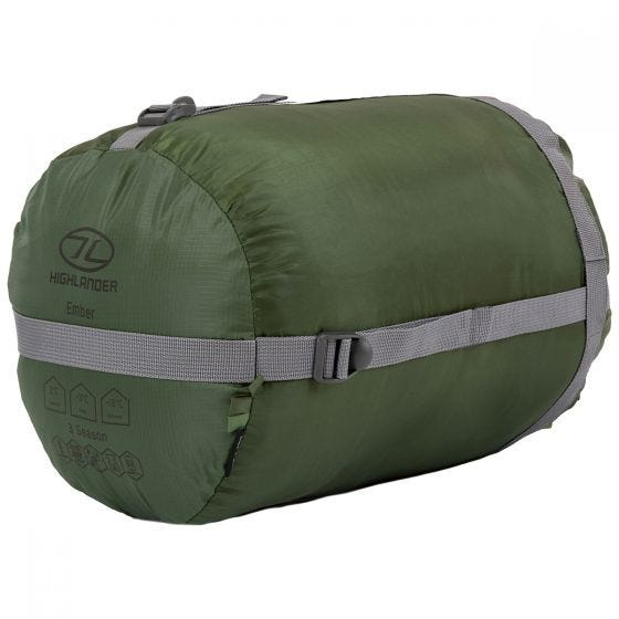 Highlander Phoenix Ember 250 Mummy Sleeping Bag Olive Green