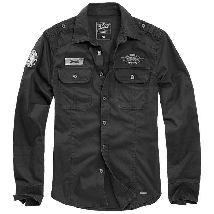 Brandit Luis Vintage Shirt with Badges Black