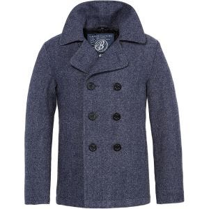 Brandit Pea Coat Denim Blue Herringbone