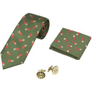 Jack Pyke Tie, Hanky and Cufflinks Gift Set Cartridge Green