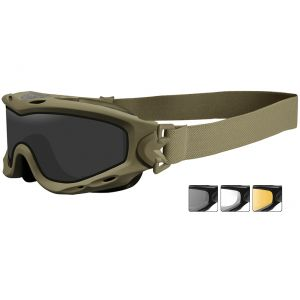 Wiley X Spear Goggles - Dual Smoke Grey + Clear + Light Rust Lens / Matte Tan Frame